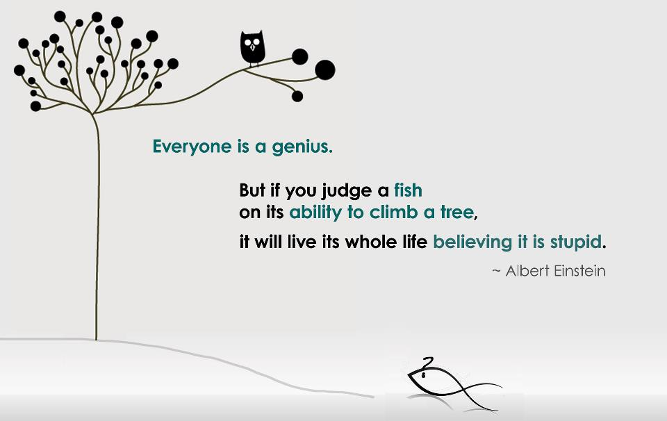 don't judge a fish on ability to climb a tree